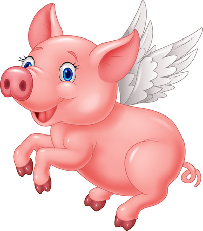Cute pig cartoon flying on white background
