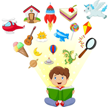 Little boy cartoon reading book education concept