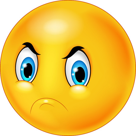 Cartoon emoticon with angry face