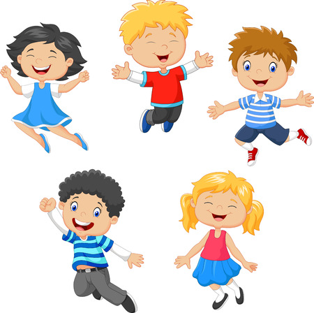 Illustration pour Vector illustration of Children jumping together on white background - image libre de droit