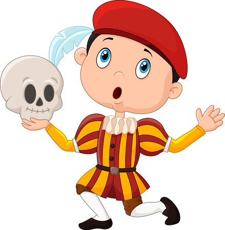 Vector illustration of Little boy playing Hamlet in a school play, holding a skull