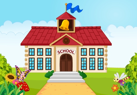 Foto de Vector illustration of Cartoon school building isolated with green yard - Imagen libre de derechos
