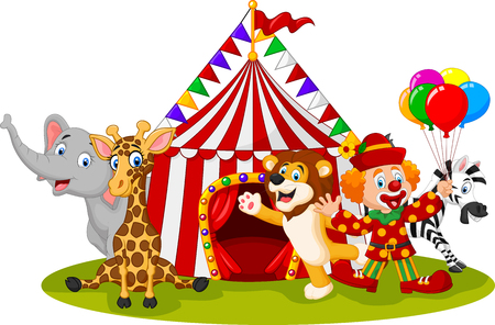 illustration of Cartoon happy animal circus and clown