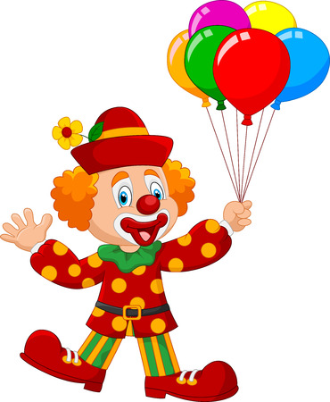 illustration of Adorable clown holding colorful balloon isolated on white background