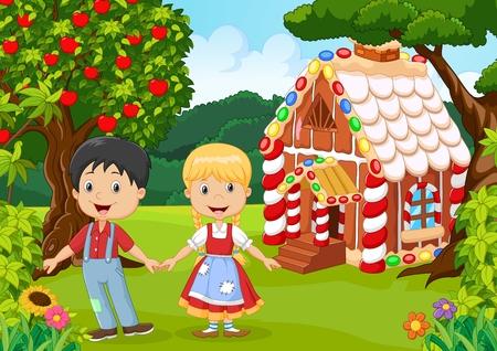 Illustration for illustration of Classic children story. Hansel and Gretel - Royalty Free Image