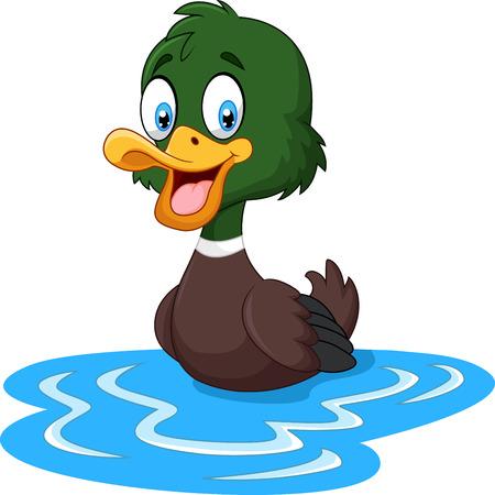 illustration of Cartoon ducks floats on water