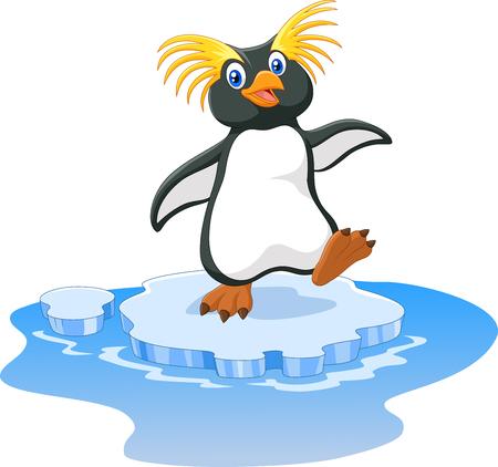 Vector illustration of Happy cartoon penguin rockhopper on ice