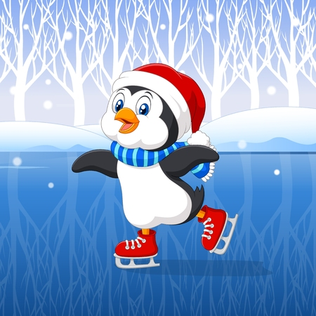 Vector illustration of Cute cartoon penguin doing ice skating with winter background