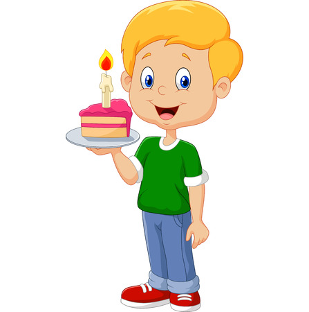 Vektor für Vector illustration of Little boy holding birthday cake isolated on white background - Lizenzfreies Bild