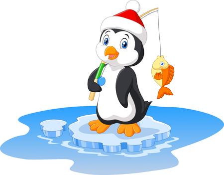 Vector illustration of penguin fishing