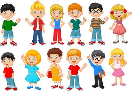 Illustration pour Vector illustration of Happy little kids collection set. isolated on white background - image libre de droit