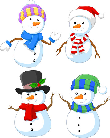 Vector illustration of Cartoon happy snowman collection set
