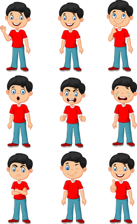 Illustration pour Vector illustration of Little boy in various expression isolated on white background - image libre de droit