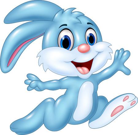 Ilustración de Cartoon vector illustration of happy bunny running isolated on white background - Imagen libre de derechos