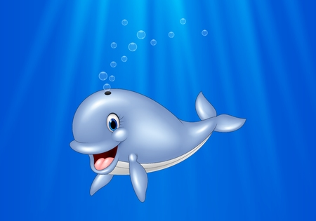 Vector illustration of Cartoon whale swimming in the ocean