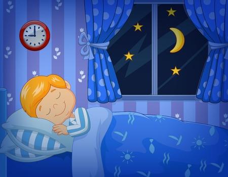 Vektor für Vector illustration of Cartoon little boy sleeping in the bed - Lizenzfreies Bild