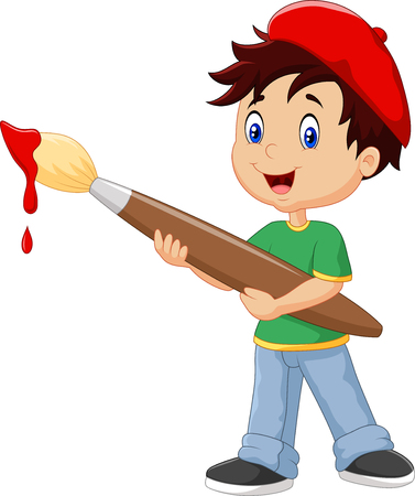 Illustration for Vector illustration of Little boy painting with paintbrush - Royalty Free Image