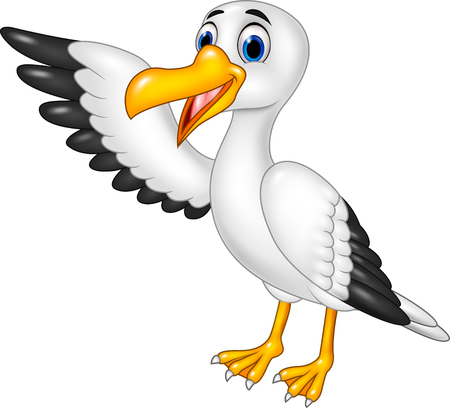 Vector illustration of Cartoon funny seagull presenting isolated on white background