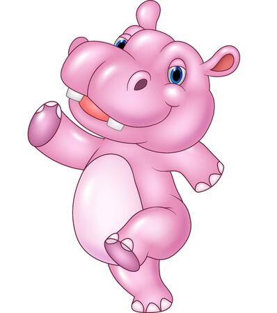 Ilustración de Vector illustration of Cartoon baby hippo running isolated on white background - Imagen libre de derechos