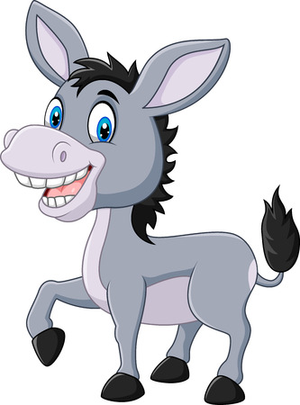 Vector illustration of Adorable donkey isolated on white background