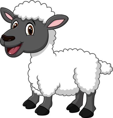 Illustration pour Vector illustration of Cartoon funny sheep posing isolated on white background - image libre de droit