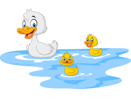 Photo pour Vector illustration of Cartoon funny mother duck with baby duck floats on water - image libre de droit