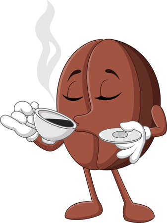 Illustration pour Vector illustration of Cartoon funny Coffee bean drinking coffee - image libre de droit