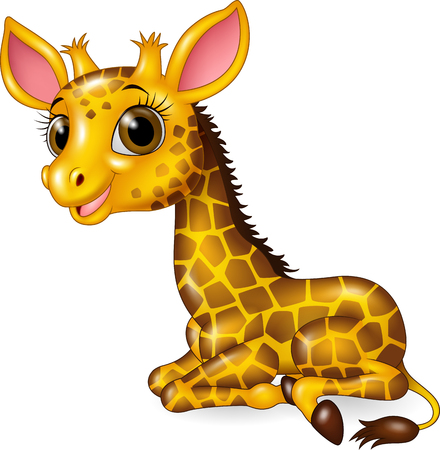 Illustration for Vector illustration of Cartoon funny baby giraffe sitting isolated on white background - Royalty Free Image