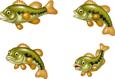 Illustration pour Vector illustration of Cartoon funny bass fish collection isolated on white background - image libre de droit