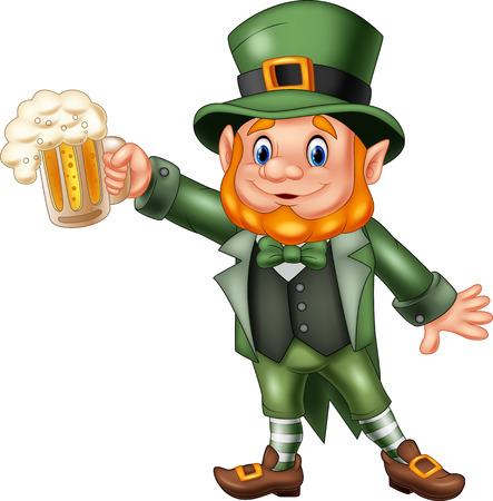 Illustration pour Vector illustration of Cartoon St Patrick's Day, Leprechaun with mug beer - image libre de droit