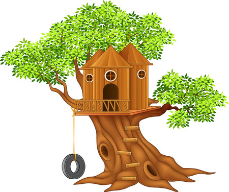 Vector illustration of Cute small tree house