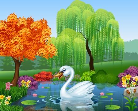 Illustration pour Vector illustration of Cute swan floats on mountain river - image libre de droit