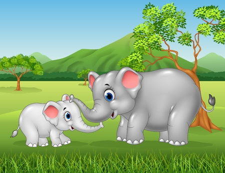 Illustration pour Vector illustration of Cartoon elephant mother and calf bonding relationship in the jungle - image libre de droit