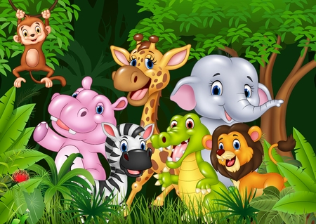 Ilustración de Vector illustration of Cute animal africa in the jungle - Imagen libre de derechos