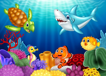 Illustration pour Vector illustration of Cartoon tropical fish and beautiful underwater world with corals - image libre de droit