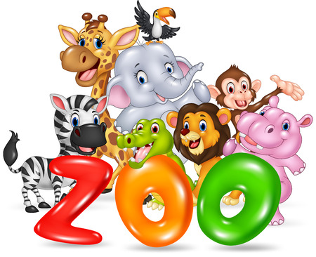 Ilustración de Vector illustration of Word zoo with happy cartoon wild animal africa - Imagen libre de derechos
