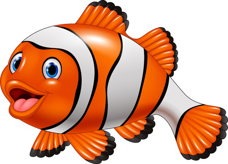 Ilustración de Vector illustration of Cute clown fish cartoon - Imagen libre de derechos