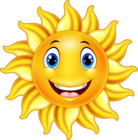 Illustration for Vector illustration of Cute smiling sun cartoon - Royalty Free Image