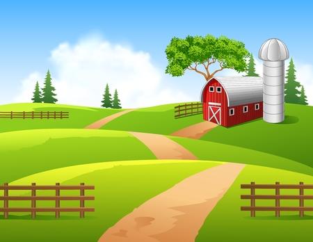 Illustration pour Vector illustration of farm background - image libre de droit