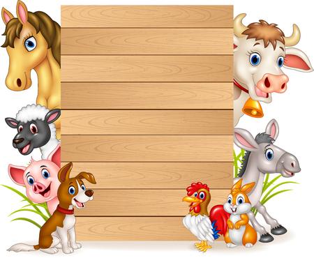 Foto de Vector illustration of Cartoon funny farm animals with wooden sign - Imagen libre de derechos