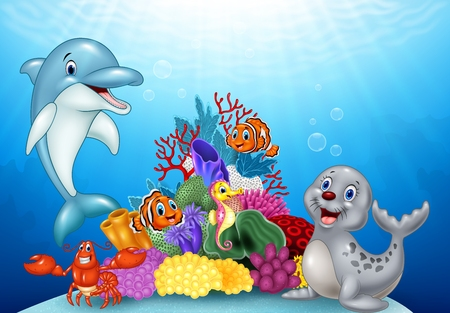 Illustration pour Vector illustration of Cartoon tropical fish with Beautiful Underwater World - image libre de droit