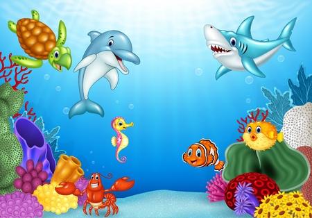 Vektor für Vector illustration of Cartoon tropical fish with beautiful underwater world - Lizenzfreies Bild