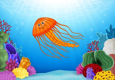 Illustration pour Vector illustration of Cartoon jellyfish with beautiful underwater world - image libre de droit
