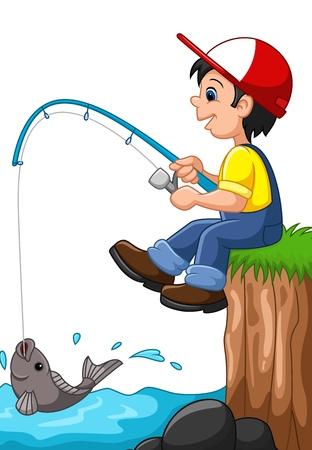 Vektor für illustration of Little boy fishing - Lizenzfreies Bild