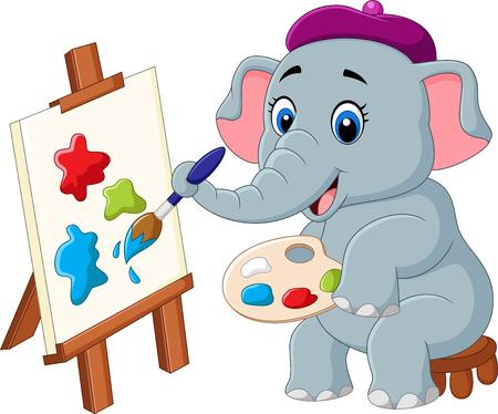 Illustration pour illustration of Cartoon elephant painting isolated on white background - image libre de droit