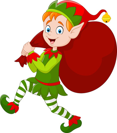 Illustration for illustration of Cartoon Christmas elf carrying a bag of present - Royalty Free Image