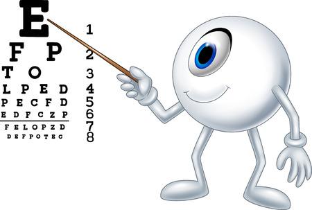 Vektor für illustration of Cartoon eye ball optician pointing to Snellen chart - Lizenzfreies Bild