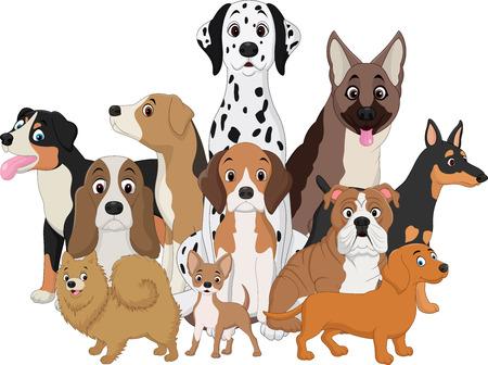 Ilustración de illustration of Set of funny dogs cartoon - Imagen libre de derechos