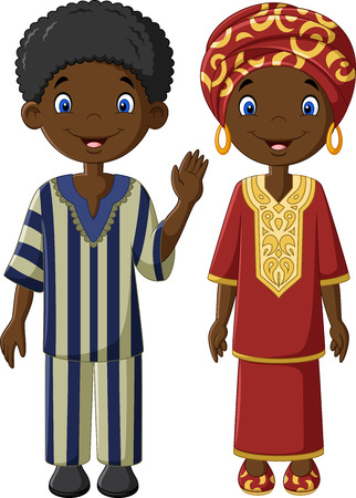 Vector illustration African children with traditional costume