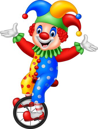 Illustration pour Vector illustration of Cartoon clown riding one wheel bike - image libre de droit
